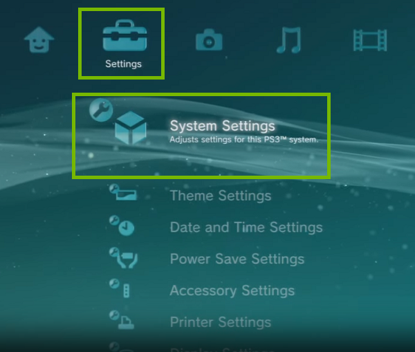 PS3 Menu with Settings and System Settings highlighted. Screenshot