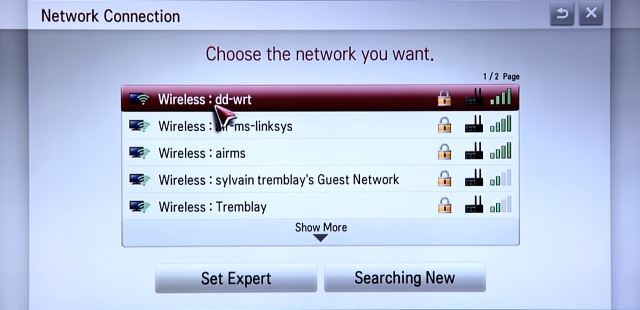 List of available Wireless networks.