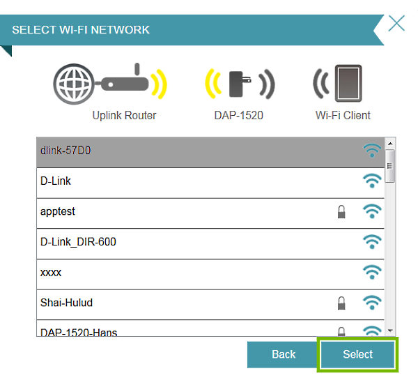 Select button highlighted Wi-Fi network selection prompt in connection setup wizard.