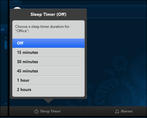 Sleep timer duration selection screen on computers