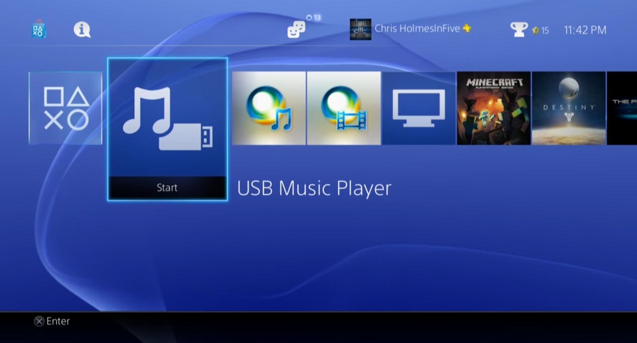 PlayStation 4 menu.