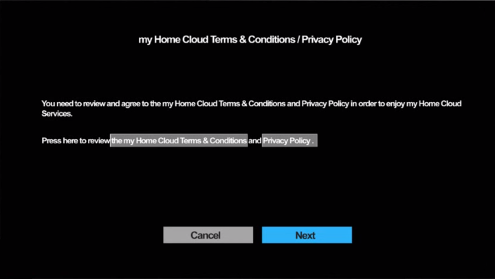 Terms and Conditions / Privacy Policy acceptance screen