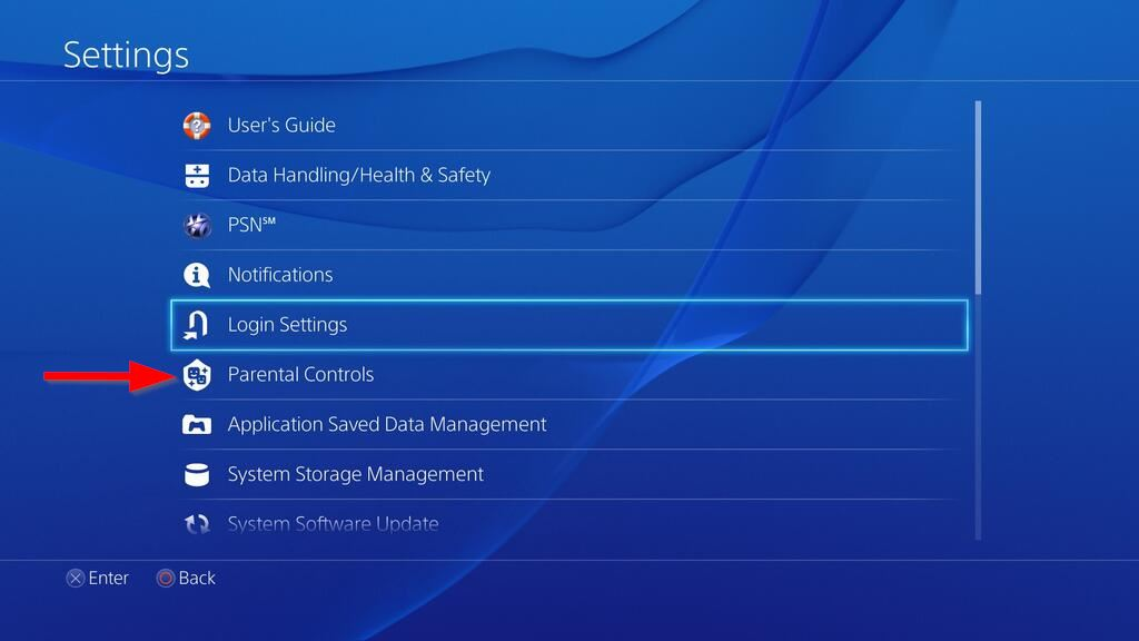 Settings menu with Parental / Family Management selected. Screenshot.