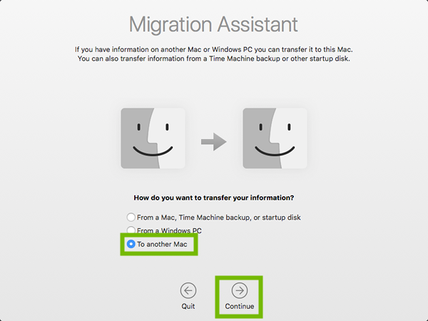 Migration Assistant with To another Mac and Continue highlighted.