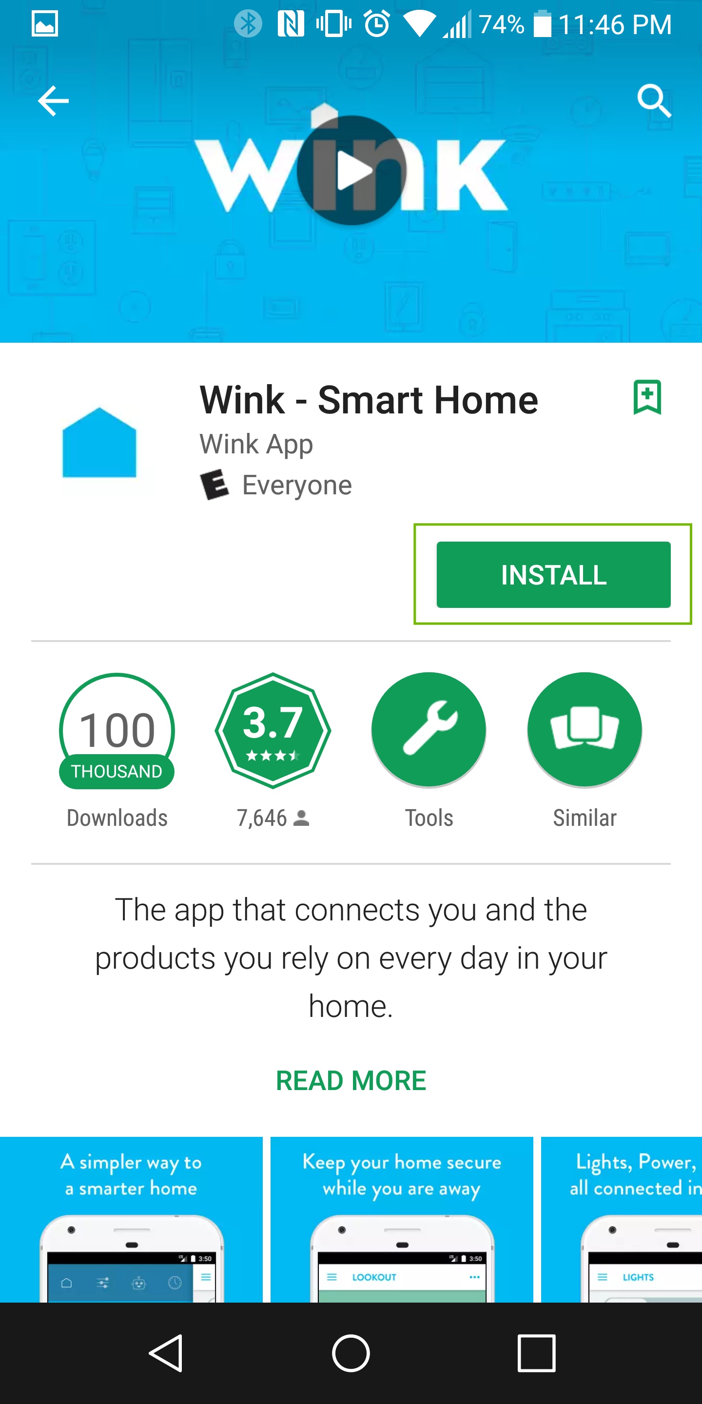 wink app page with install highlighted
