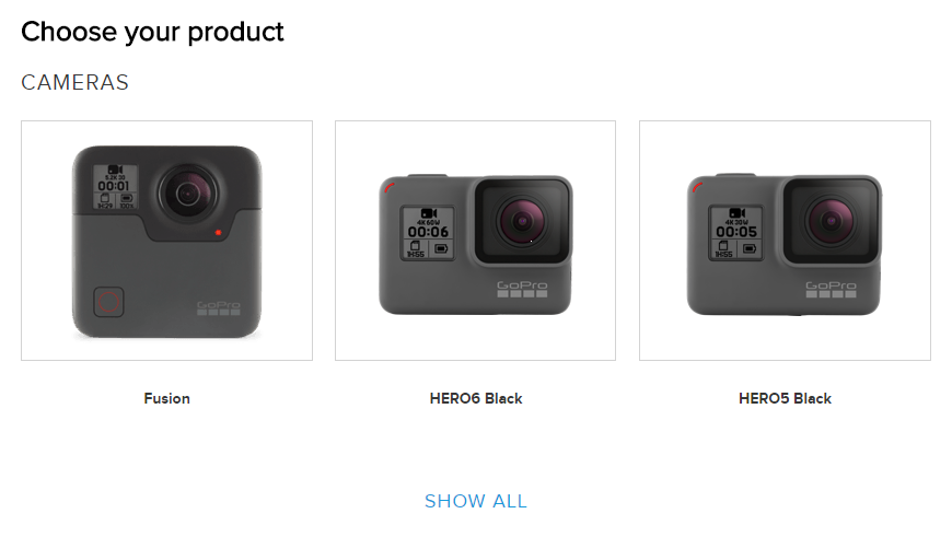 GoPro website displaying a list of available devices.