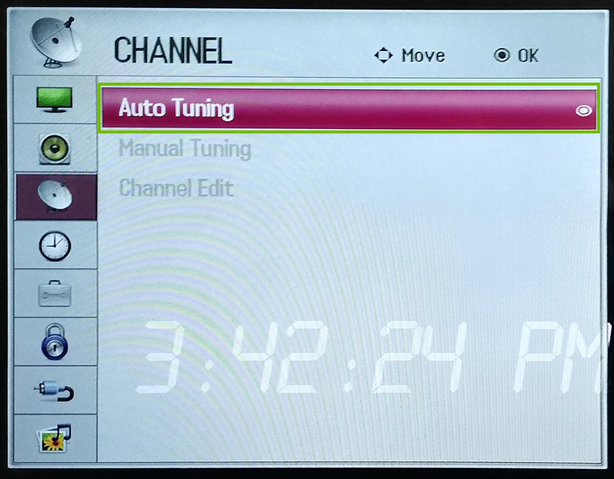 Channel settings with Auto Tuning highlighted.