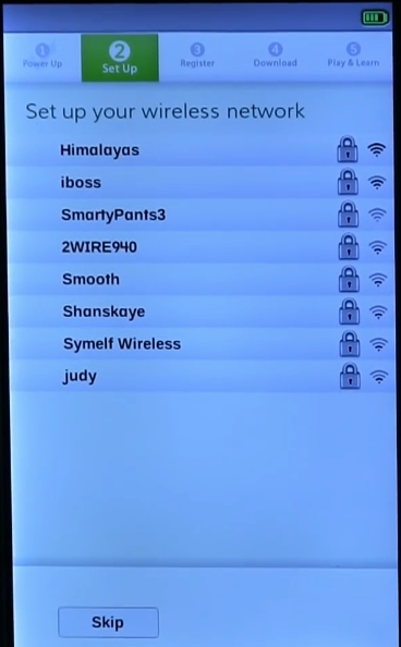 List of available wireless networks with Skip button below.