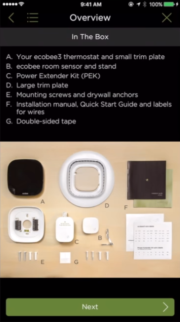 Package contents shown for selected thermostat