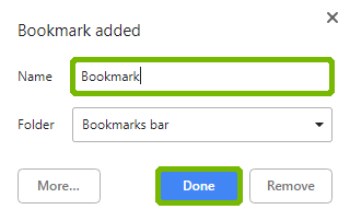 Create bookmark with name and Done highlighted.