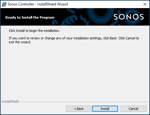 Sonos Controller installation wizard on computer