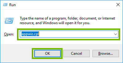 Run windows with appwiz.cpl typed and OK highlighted. Screenshot