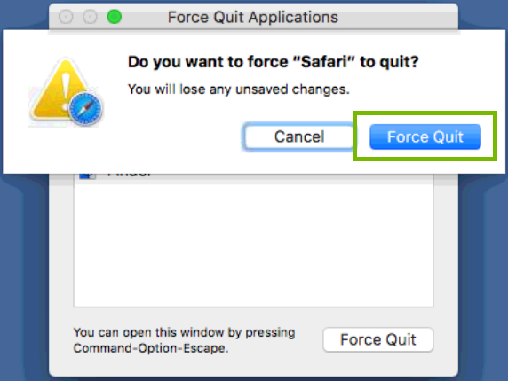 force quit confirm dialog with force quit button highlighted