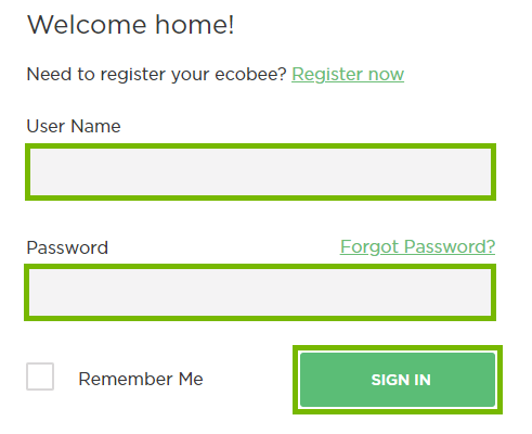 ecobee login page with username, password, and Sign In highlighted