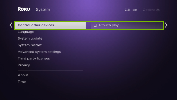 Control other devices and 1-touch play options highlighted in Roku settings.