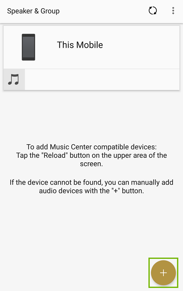Music Center home screen with plus button highlighted.