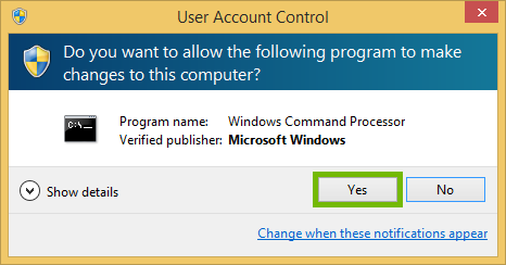 Windows 8 User Access Control prompt with Yes highlighted.