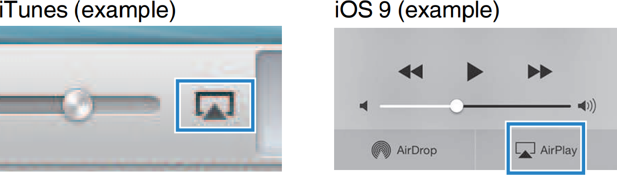 AirPlay symbol showing up in iTunes and iOS device.