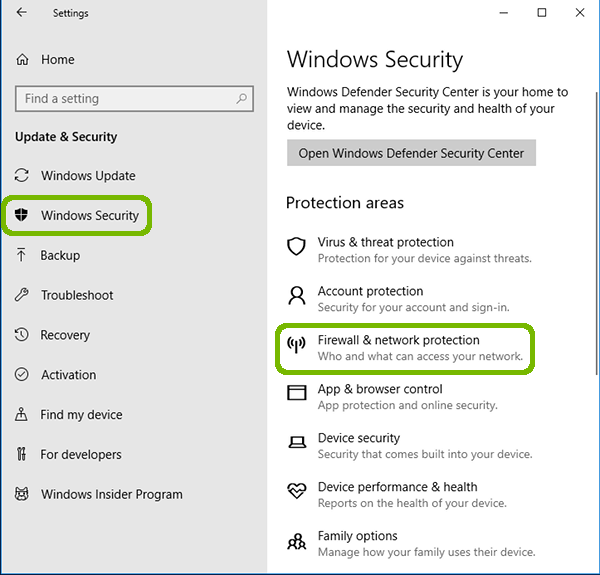 Update and Security with Windows Security and Firewall and Network Protection highlighted.