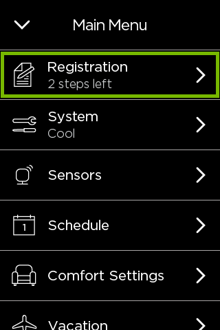 Registration option highlighted in ecobee menu.