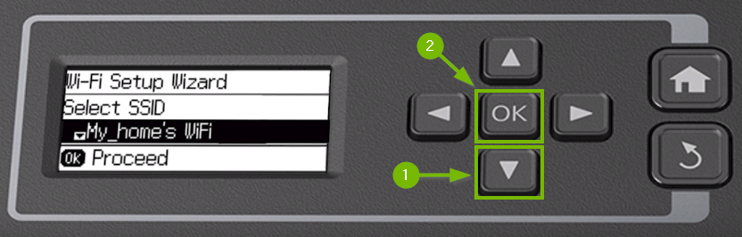 Printer control panel highlighting the down arrow and OK buttons.