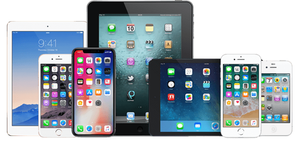 Assorted iOS devices.