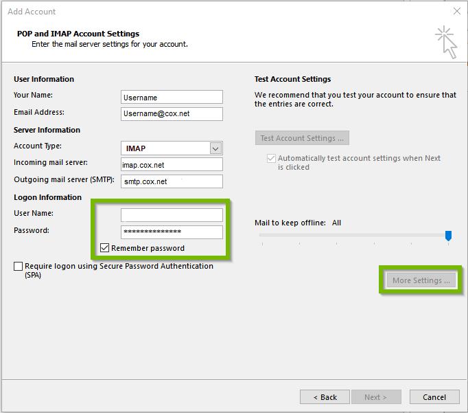 Outlook showing cox setup settings