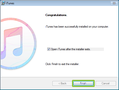 iTunes installation complete with Finish highlighted.