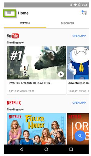 Google Home app's menu. Screenshot.