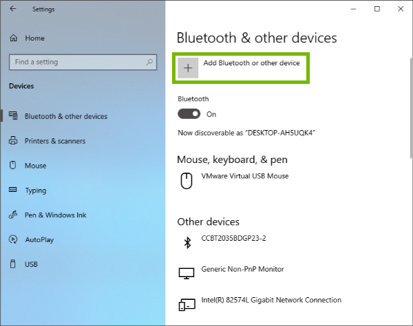 Add Bluetooth or other device highlighted