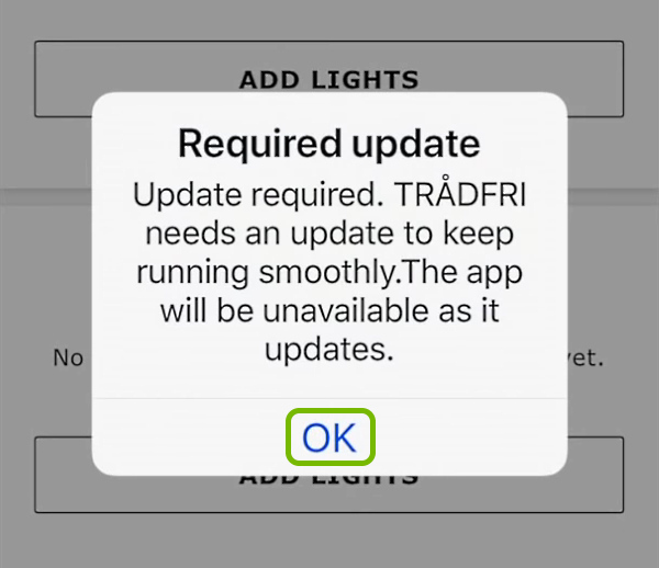 OK option highlighted on update notification in IKEA Home Smart app.