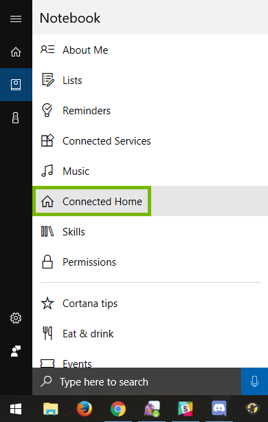 Connected Home option highlighted in Cortana menu.