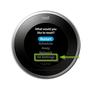 Nest thermostat reset menu with the all settings option highlighted.
