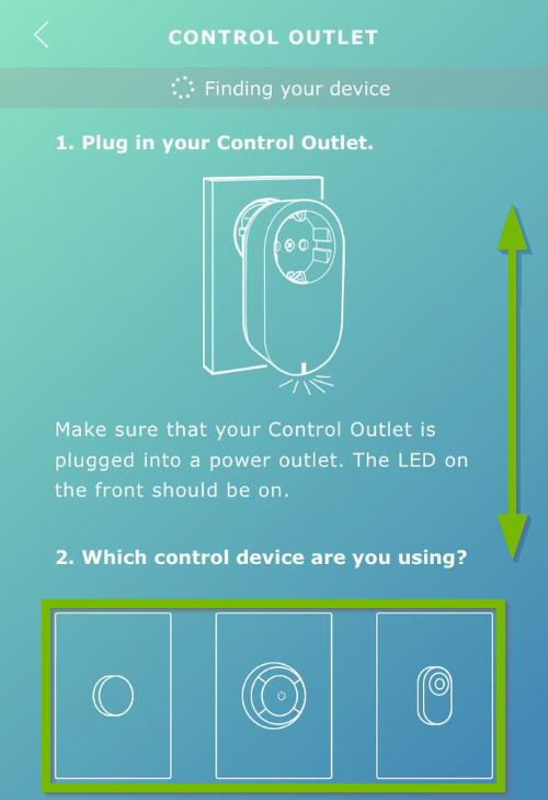 Double pointed arrow showing directions to scroll and control devices highlighted on instructional screen in Ikea Tradfri app.