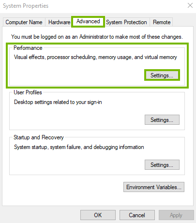 Advanced panel showing performance settings