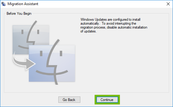 Migration Assistant Windows Updates prompt with Continue highlighted.