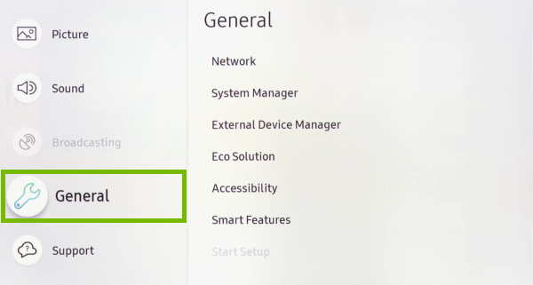 General option highlighted in settings menu of Samsung Smart TV.