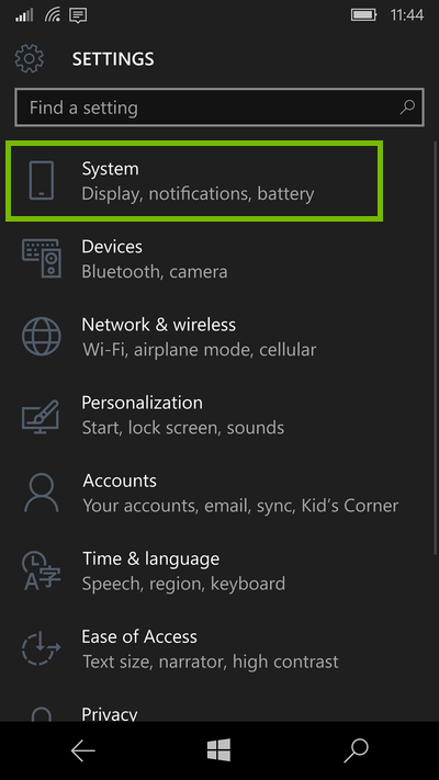 screenshot of settings with System highlighted