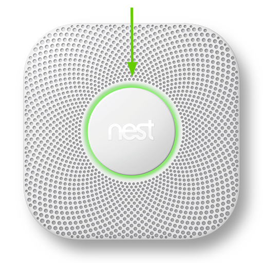 Nest Protect with arrow pointing to the button