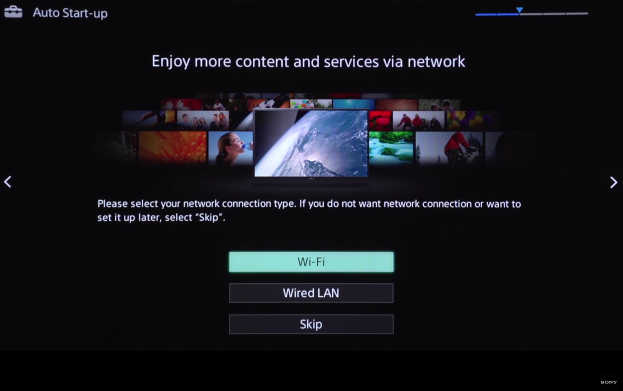 Connection type selection screen