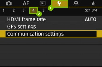 Camera Menu with Wrench and sub menu 4 highlighted