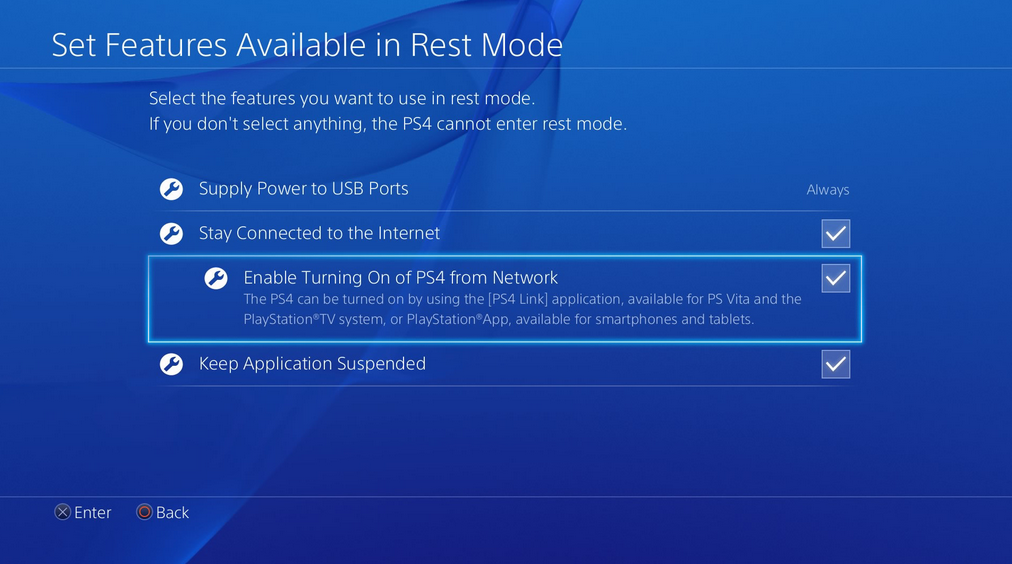 Rest mode settings screen.
