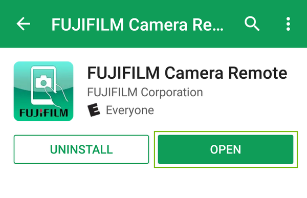 fujifilm camera remote app page with open highlighted