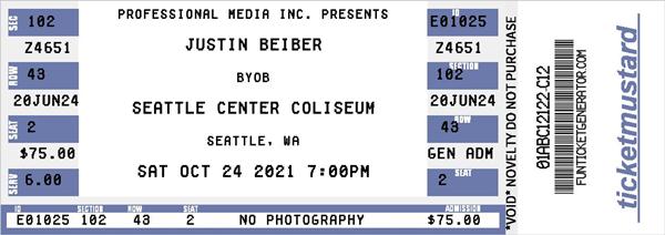 fake concert ticket.