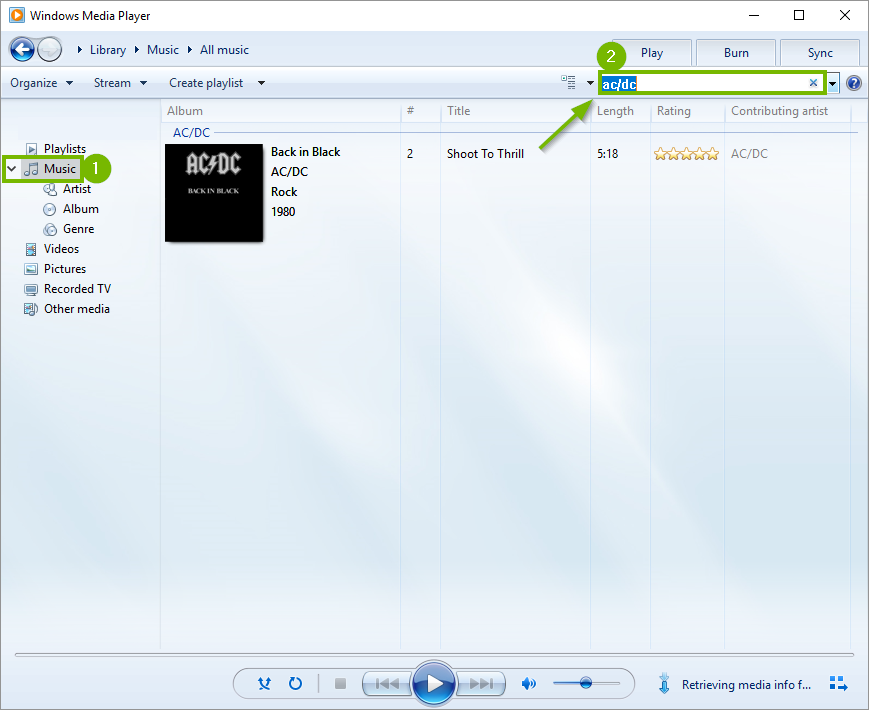 Windows media player search bar.