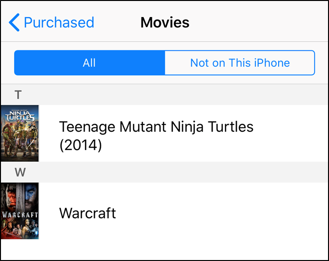 iTunes displaying previously purchased media.