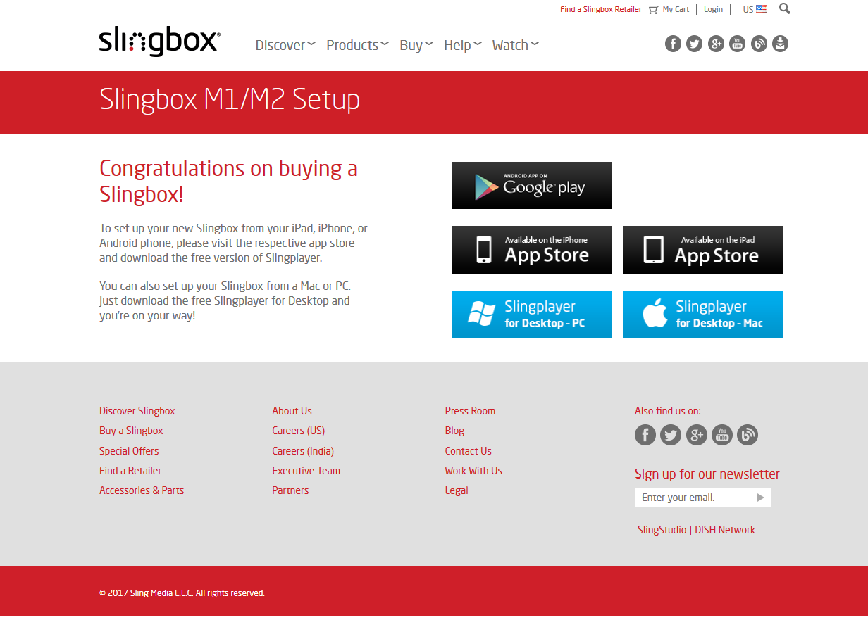 Download/install page for Slingbox apps