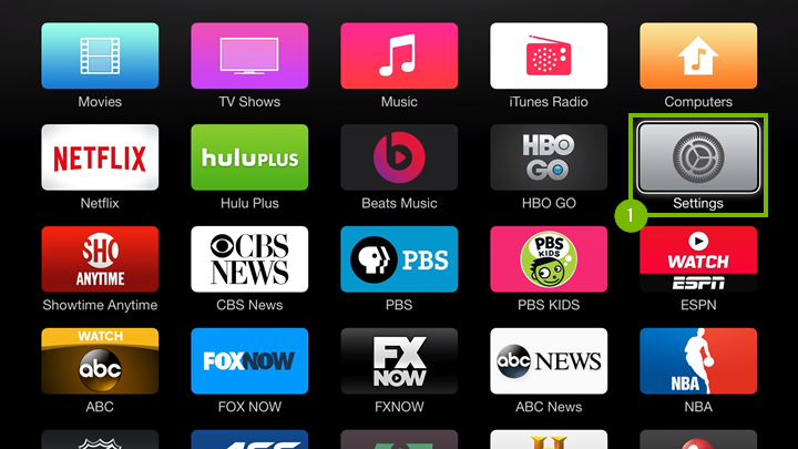 Apple TV home screen highlighting the Settings icon.