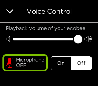 Disabled microphone highlighted in Coice Control settings of ecobee thermostat.