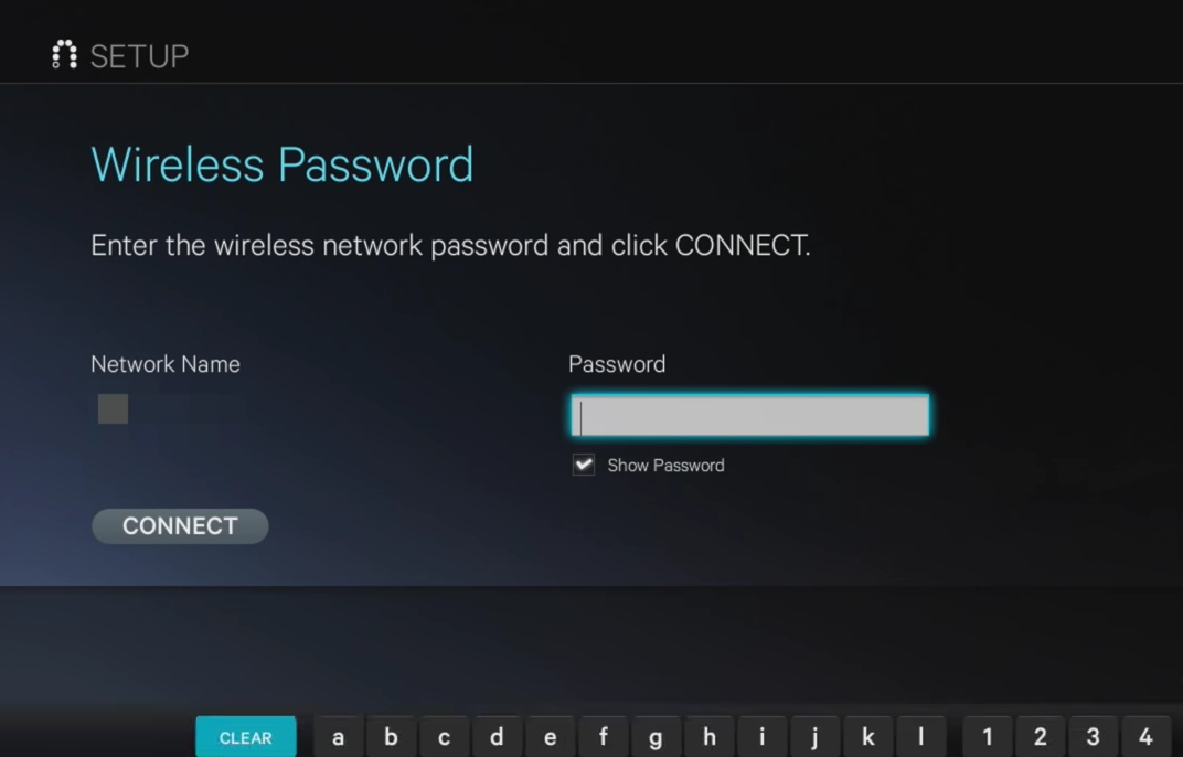 Wireless password screen